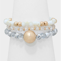 3 PC White & Gold Bead Accent Beaded Strand Stack Stretch Bracelets - $10.50