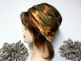 Olive Green, orange and Ivory Chemo Scarf Headband, Wide Headband, Headw... - €15,85 EUR