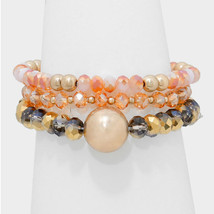 3 PC Peach & Gold Bead Accent Beaded Strand Stack Stretch Bracelets - $10.50
