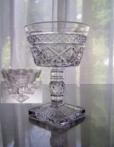 Vtg Mid-Century Pedestal Footed GOBLETS Clear Diamond Pattern, Wine, Des... - $24.75