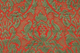 Christmas Red Green Vintage Antique Woven Coverlet Quilt Piece Crafting ... - $19.95