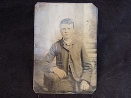 VINTAGE METAL PRINT YOUNG MAN PORTRAIT 3 1/2 by 2 1/2 steel backed photo... - $25.86