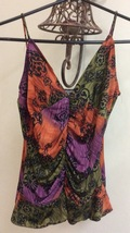 Women Top Small With Straps Olive Green, Purple, Orange and Black. - $6.00