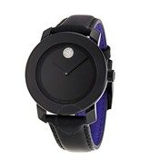 MOVADO BOLD 3600066 SWISS BLACK LEATHER STRAP BLACK CRYSTAL DIAL WOMEN'S WATCH - £213.91 GBP