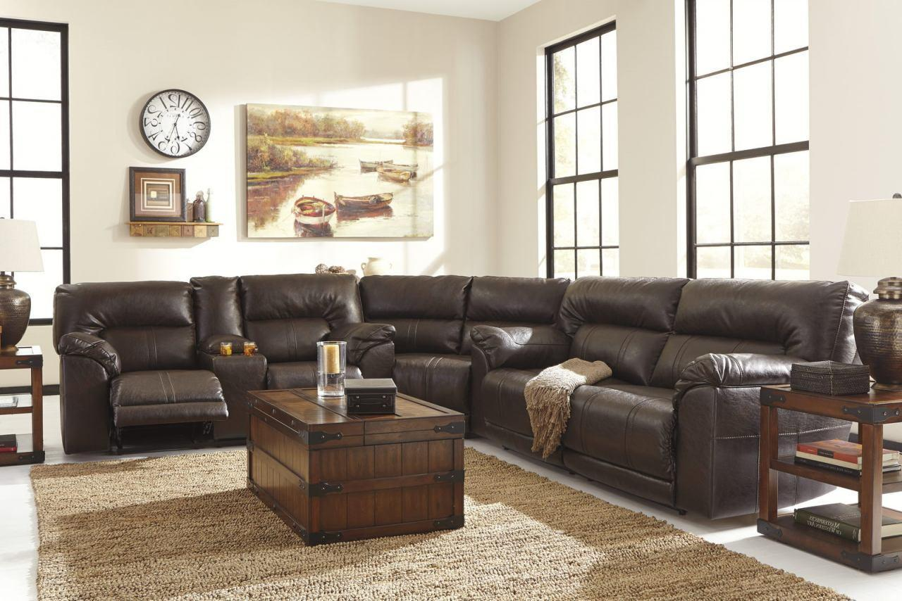 Ashley Barrettsville DuraBlend 4 Piece Living Room Set in Chocolate Non Power