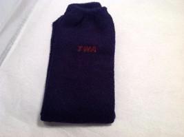 TWA Brand Socks 2 Pairs Deep Navy Blue Red TWA Logo Soft NEW