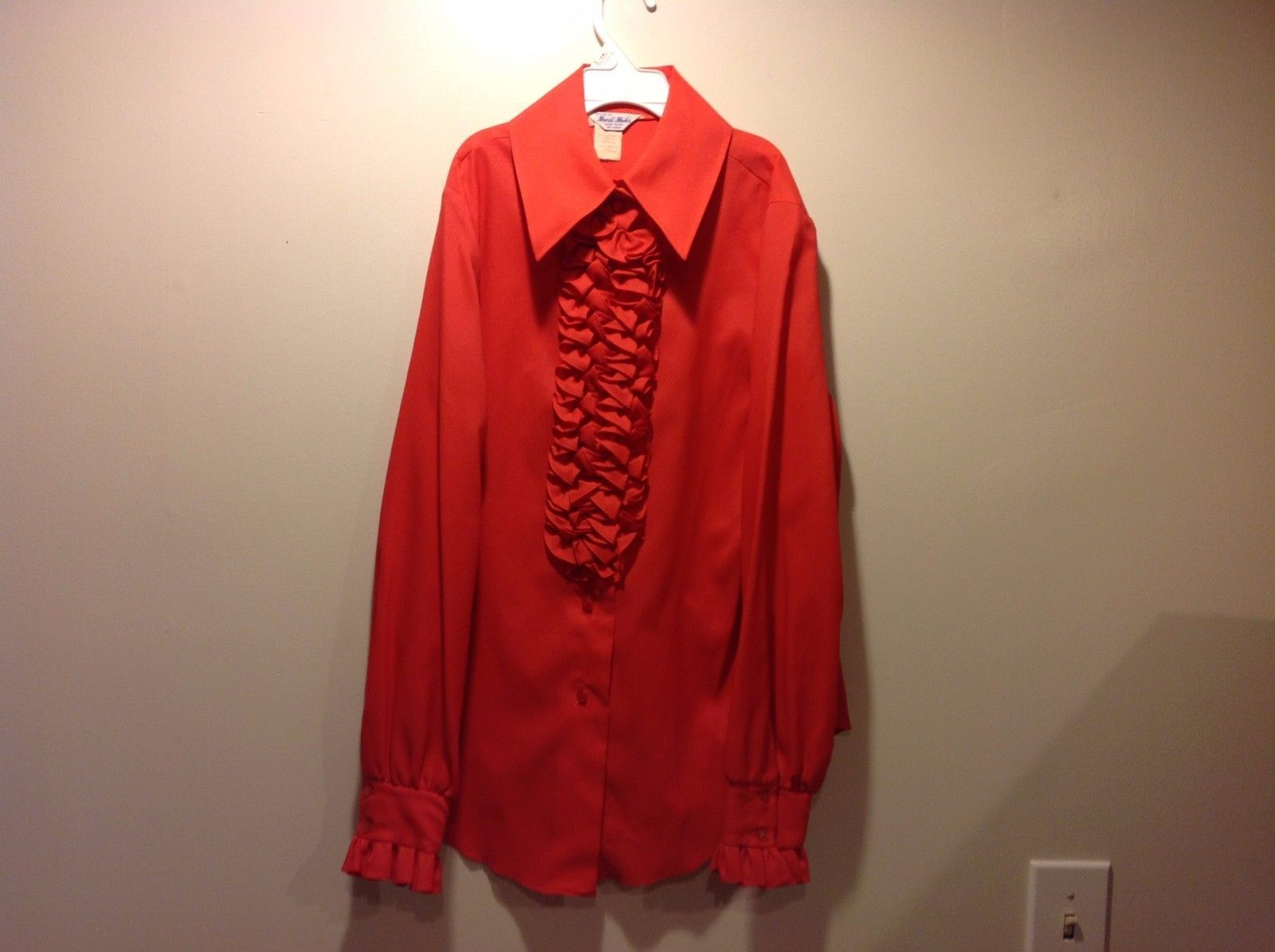 Great Condition Frilly Blouse Bright Red Orange Mardi Modes Sleeve Cuffs