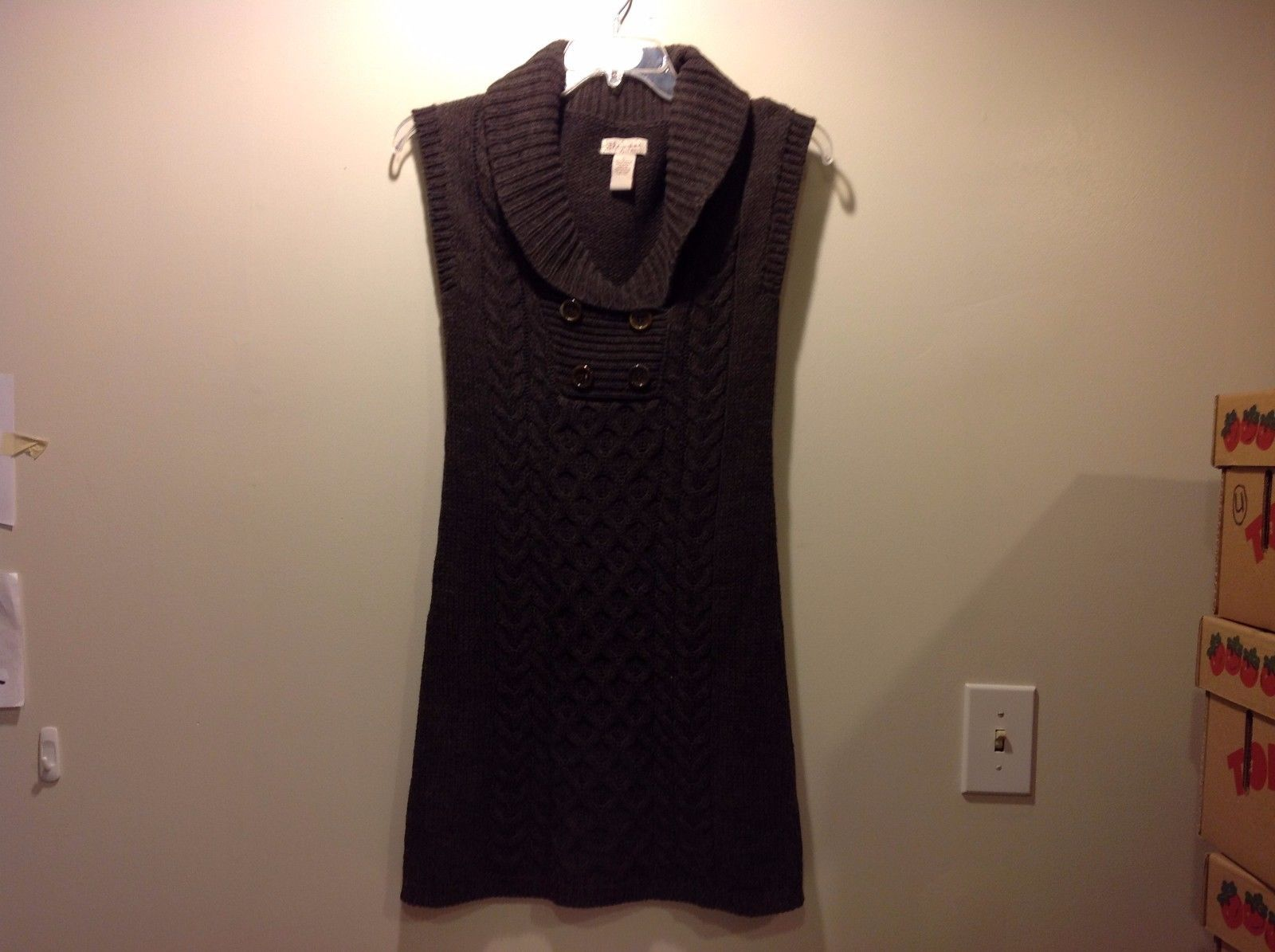 Great Condition Size Large Sweater Dress Dark Gray Sleeveless Thick Warm
