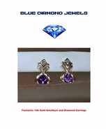 14k Gold and Amethyst-Genuine Diamond Earrings Exquisite Custom Made - $139.00