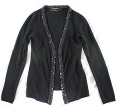 ~~~ GLAM ~~~ ROBERTO CAVALLI BLACK CASHMERE BEADED TRIM SWEATER/CARDIGAN... - $106.12