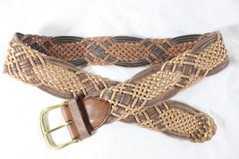 "~~ BRAIDED BEAUTY ~~ LINEA PELLE ""METALLIC CONTRAST"" WOVEN LEATHER BELT ~ S - $79.29"