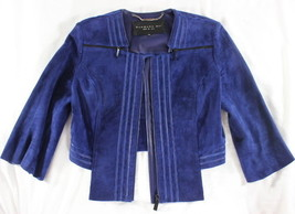 "~~~ SHOW TIME ~~~ BARBARA BUI BLUE SUEDE ""CROPPED"" ZIPPER ADORNED JACKET... - $288.45"