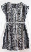 "~~~ PRETTY/EDGY ~~~ JOIE GRAY SNAKESKIN PRINT ""MEESA"" BELTED SILK DRESS ... - $121.74"