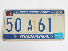 1988 Indiana License Plate Back Home Again 50A61 - $9.99