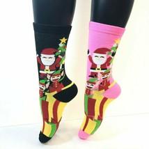 2 PAIRS Foozys Women's Socks, Santa & Elves Print, Pink, Black, NEW - $8.99