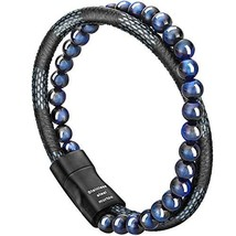 murtoo Mens Bead Leather Bracelet, Blue and Brown Bead and Leather Brace... - $17.87