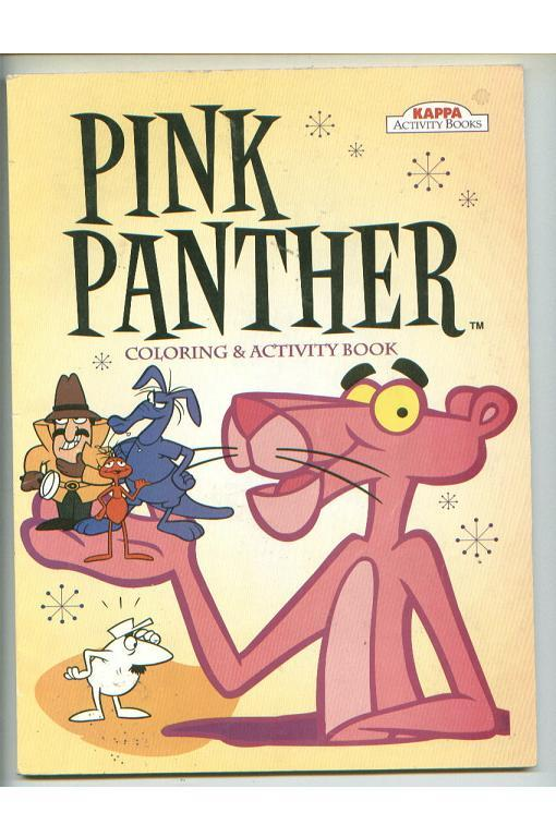 PINK PANTHER lot glass jar+plush+bendy figure+coloring book+cassette+stickers