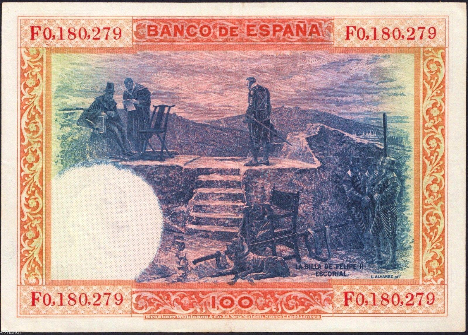 Spain 1925 , 100 Pesetas , Banknote VF