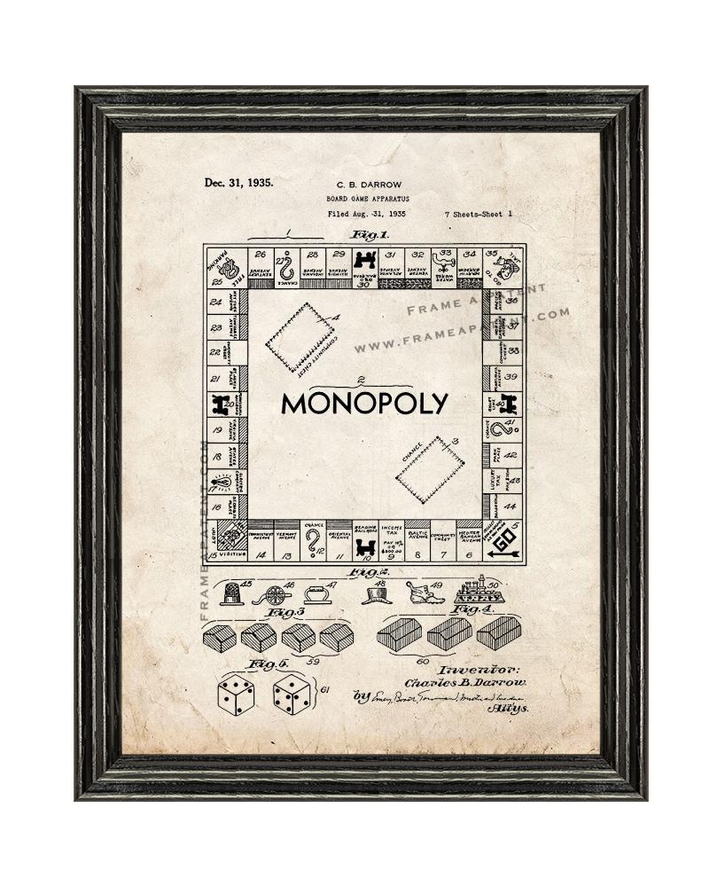 Primary image for Monopoly Game Patent Print Old Look with Black Wood Frame