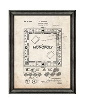 Monopoly Game Patent Print Old Look with Black Wood Frame - $24.95+