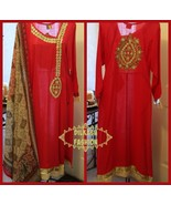 Pakistani Red/Gold Straigh-Line Lawn Suit with Gota, Printed Dupatta - $68.98
