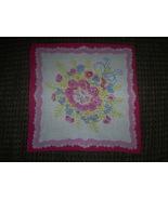 "Vintage Hankie, Pink, Blue, Yellow Floral Pattern, Pink, red trim, 12"" S... - $4.50"