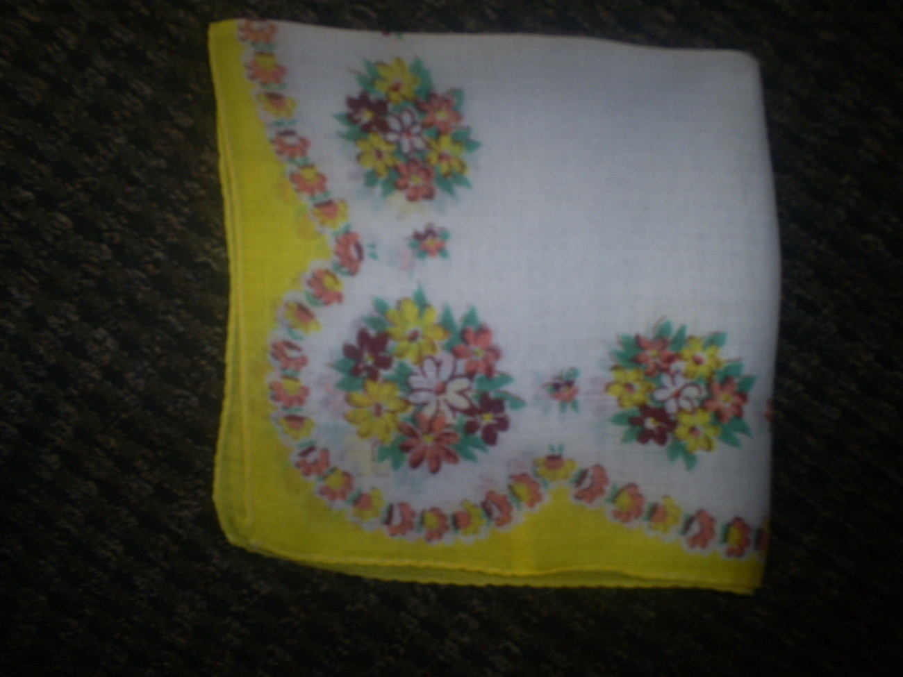 """Vintage Hankie, Floral Pattern with Yellow trim, 12"""" Square"""