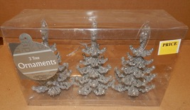 """Christmas Ornaments 3pc Silver Glitter Christmas Trees 5 1/2"""" With Strin... - $6.49"""