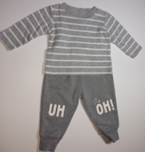Carter's, Baby Boy Clothes, SZ 6 MO, Striped Gray Shirt with Gray Sweats - $12.00