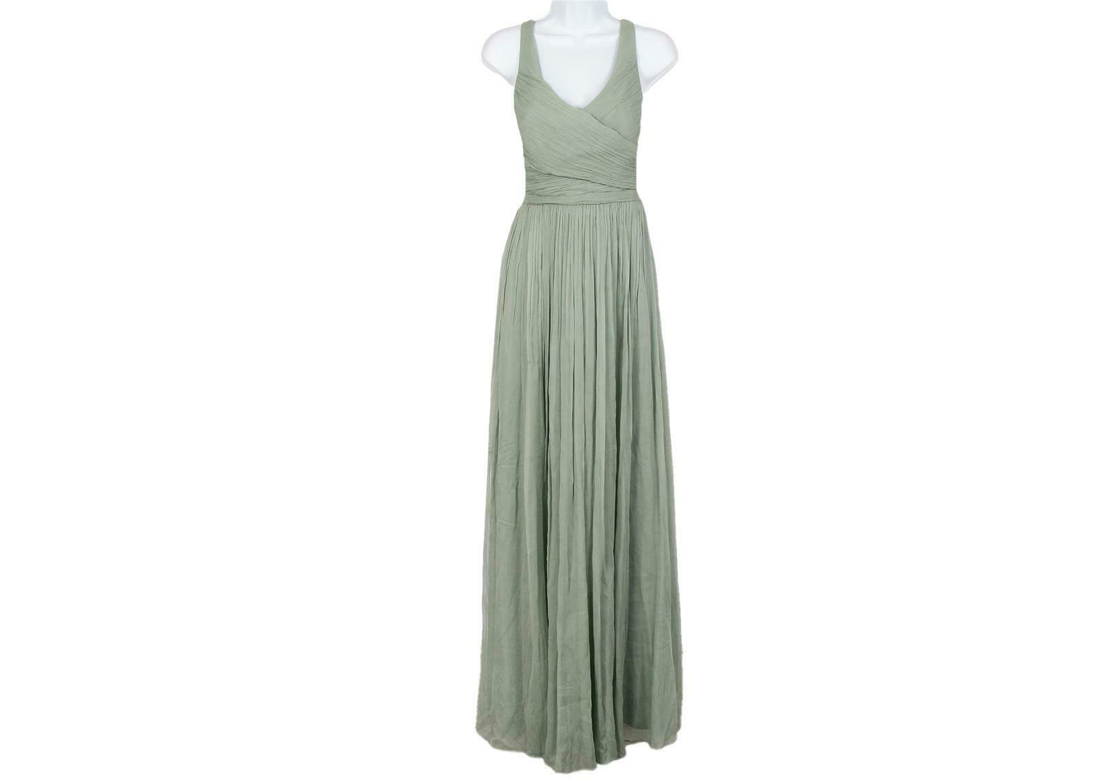 J Crew Women's Heidi Long Dress in Silk Chiffon Dusty Shale Sz 6 93075
