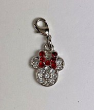 DISNEY Mickey Minnie Mouse Jeweled Pink Clip On Charm - $19.79
