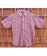 Kingsport Western Short Sleeve Shirt-Red Blue-L-Plaid Checks-Button-Cott... - $28.04
