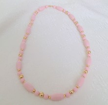 Vintage Pink and Gold Lucite Beaded Necklace 24... - $5.00