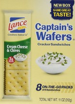 Lance Captain's Wafers Crackers Cream Cheese & Chives - 3 Boxes of 8 Ind... - $22.99