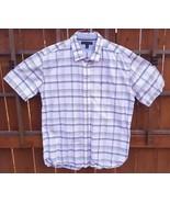 Tommy Hilfiger Short Sleeve Shirt-White Blue-XL-Plaid Checks-Button-Cott... - $26.17