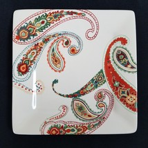 Tabletops Unlimited MULTI PAISLEY Square Dinner Plate 10.5 inch - $32.62