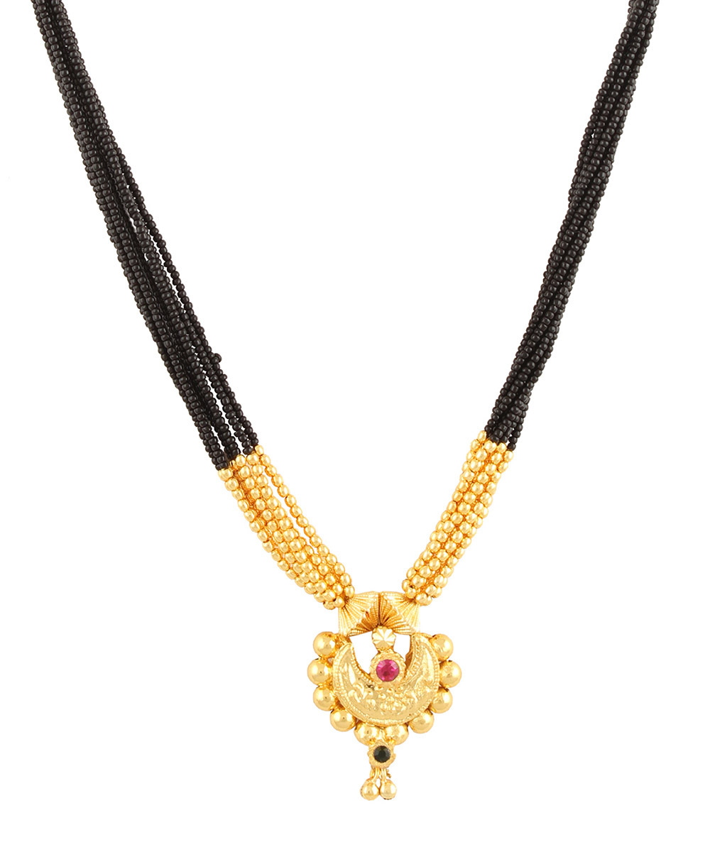 Womens Trendz Laxmi Pendant Manchali 24K Gold Plated Alloy Mangalsutra