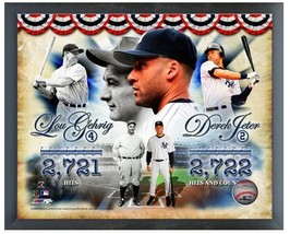 "Jeter & Gehrig Yankee Hit Leaders -11"" x 14"" Photo in a Glassless Sports... - $32.99"