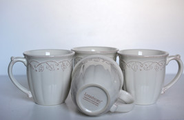 Longaberger Vintage Vine Cream 4 Rustic Mugs, Discontinued - $56.25