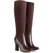 Cole Haan Julian Tall Boots  Brown Leather Suede Knee High Heels Sz 9 NEW - $107.91