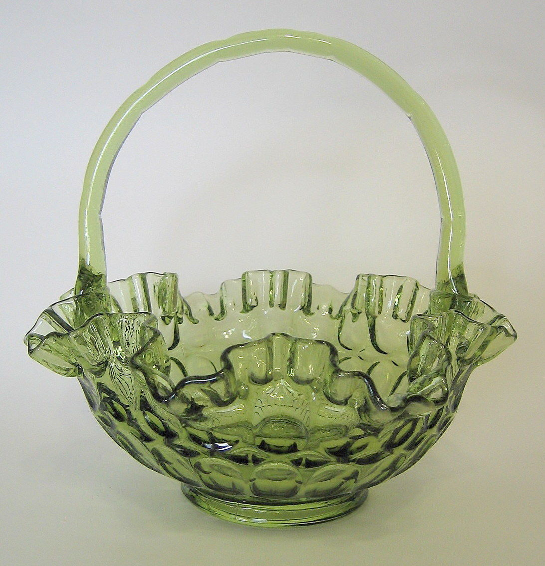Pottery & Glass Art Glass Vintage Fenton Art Glass Crimped Basket Colonal Green Thumbprint