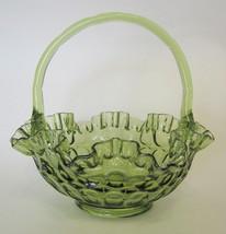 Fenton Colonial Green Glass Thumbprint Basket with Ruffled Rim - $57.91