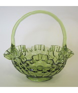 Fenton Colonial Green Glass Thumbprint Basket with Ruffled Rim - $57.91