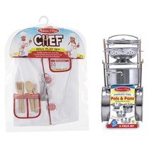 Melissa & Doug Chef Role Play Costume Set with Let's Play House! Pots & Pans Set - $59.15