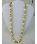 """Vintage One Strand Beaded Necklace Pastel Colors White Yellow Citron 33""""... - $7.87"""