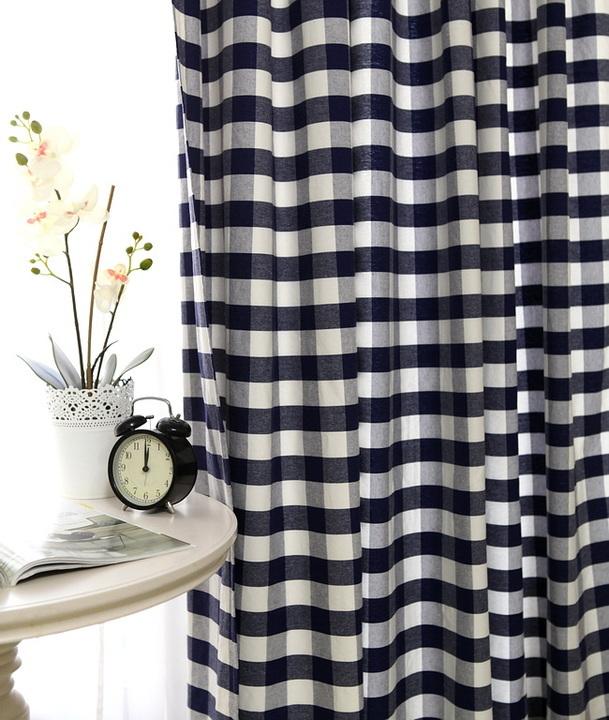 Navy Blue Buffalo Check Custom Handmade Plaid Curtain