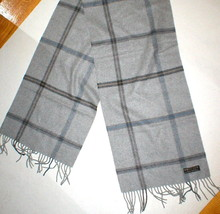 New 60 x 12 Cashmere Scarf Long Gray Blue Tan Black Fringe Womens Mens A... - $67.50