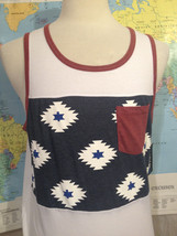 NWT Pocket Red White Blue Aztec Sleeveless T-Shirt Size M Hawk - $14.30