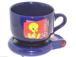 Looney Tunes Tweety Bird Cup Mug with Warmer Hot Spot Set Keeps Beverage... - $49.95