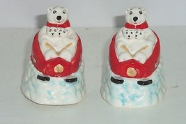 Coke Polar Bear Coca Cola Salt  & Pepper Shakers Downhill Sledding Ceramic - $34.95